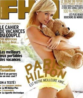 Paris Hilton na capa da Revista FHM de Agosto
