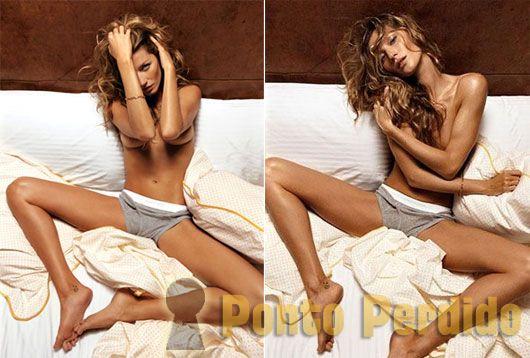 Fotos de Gisele Bundchen mostrando seus peitinhos