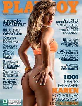 Capa da Playboy de Novembro com Karen Kounrouzan