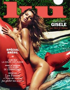 Gisele Bündchen Nua na Capa de Revista Francesa