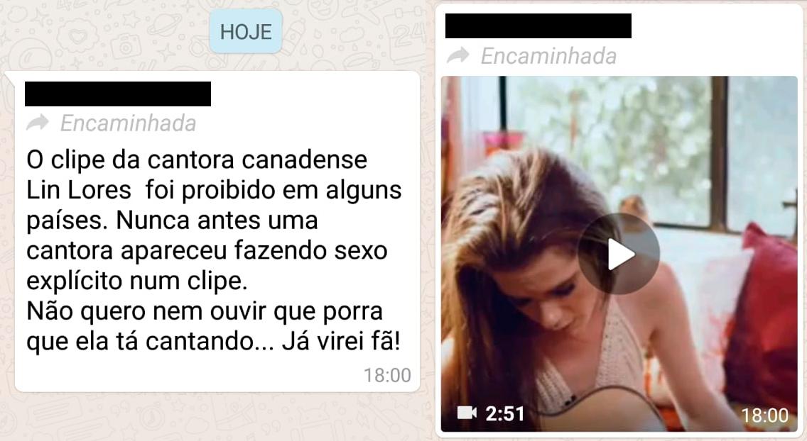 Mensagem no WhatsApp falando sobre o clipe da cantora Lin Lores
